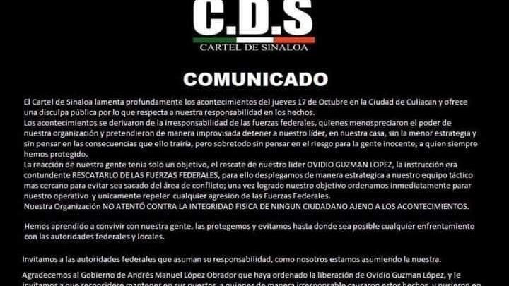 Cártel de Sinaloa ofrece disculpas al pueblo de Culiacán por balaceras
